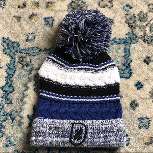 Blue and black knit beanie